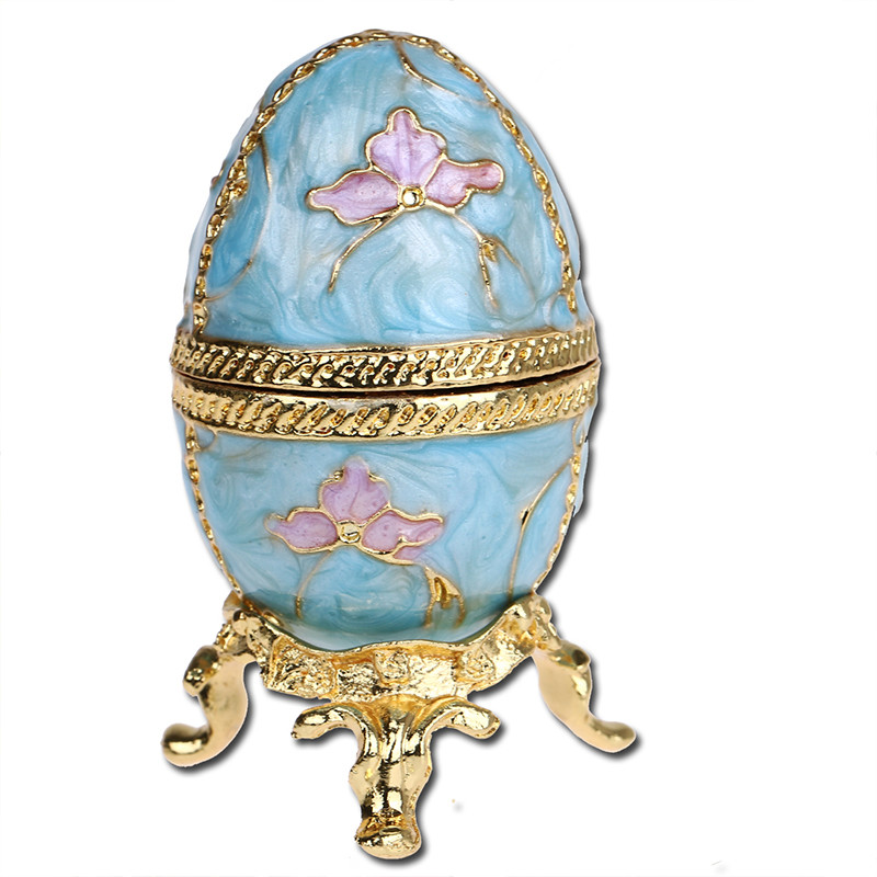 H&D X'mas Gift Russia Egg Shaped Trinket Box Hinged Jewelry Ring Holder Collectible Figurine Boxes Crystals Home Decor