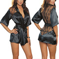 2016 Black woman night gown sets Women sexy lace Sleep wear Summer 3pcs (sleepwar+panty+Belt)  WQ136