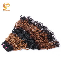 AOSUN HAIR NEW 1 Bundles Deals Ombre Human Hair Brazilian Double Drawn Curly Hair Bundles 3 Tone Double Drawn Curvy Italian Wave