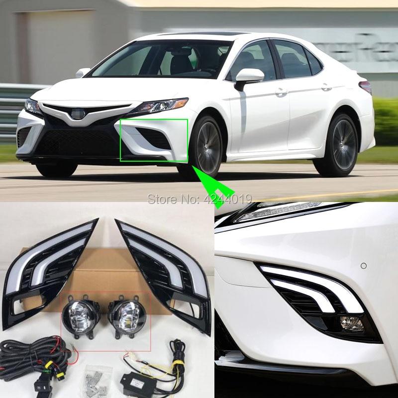 For Toyota Camry XSE /SE 2018 Car LED Daytime Running Light + Turn signal +Fog lamp