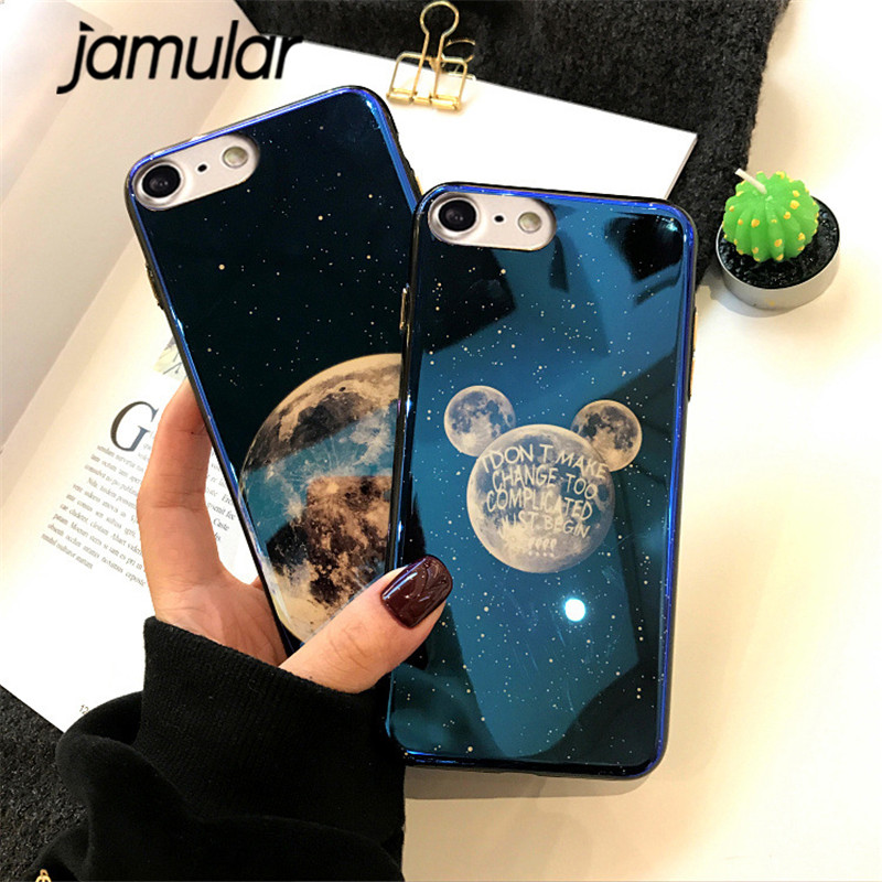 JAMULAR Moon Planet Blue Ray Light Silicone Phone Case For iPhone X 8 7 6 Plus Soft Back Cover For iPhone 7 6 6S Mickey Fundas