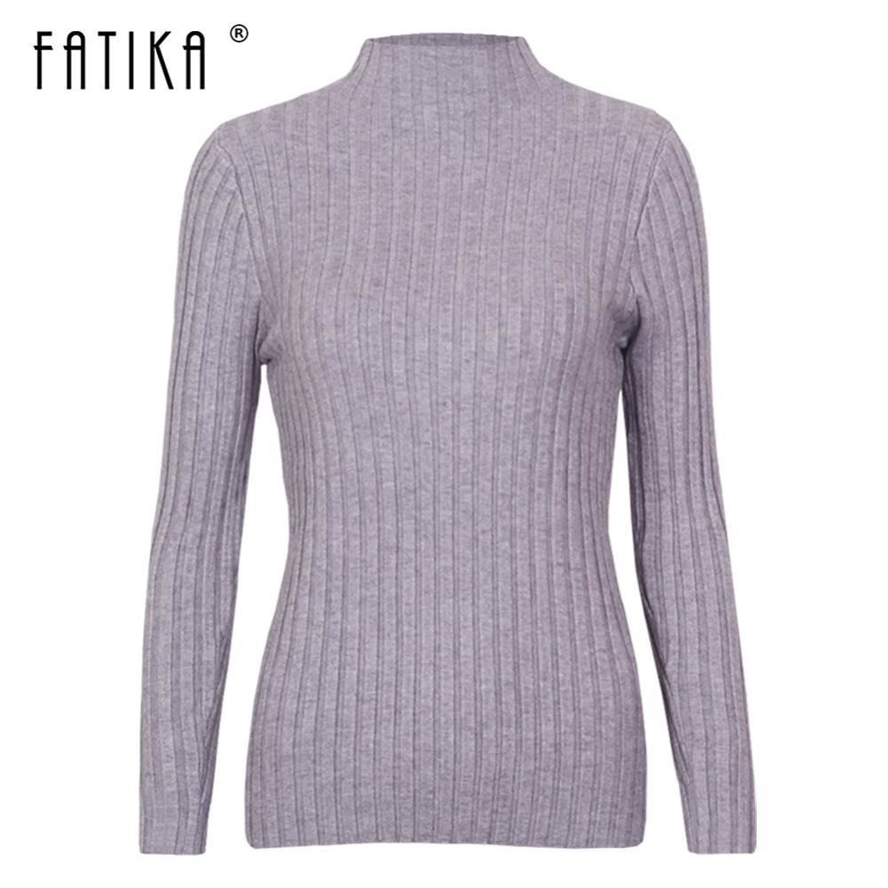 Fatika Autumn Winter Spring New Pure Color Turtleneck Sweater Female Pullovers Basic Knitting Sweaters Jumpers Tops For Ladies