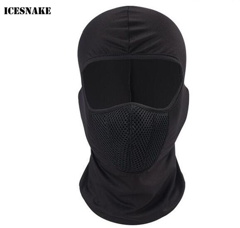 ICESNAKE Motorcycle Face Mask Balaclava Moto Mask Tactical Face Shield Helmet Cap Hat Ski Moto Training Mask in Motorcycle Face Mask from Automobiles Motorcycles
