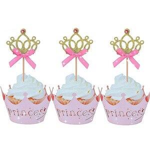 Image 2 - 10 adet altın taç kek Toppers prenses doğum günü partisi süslemeleri çocuklar erkek bebek kız bebek duş malzemeleri