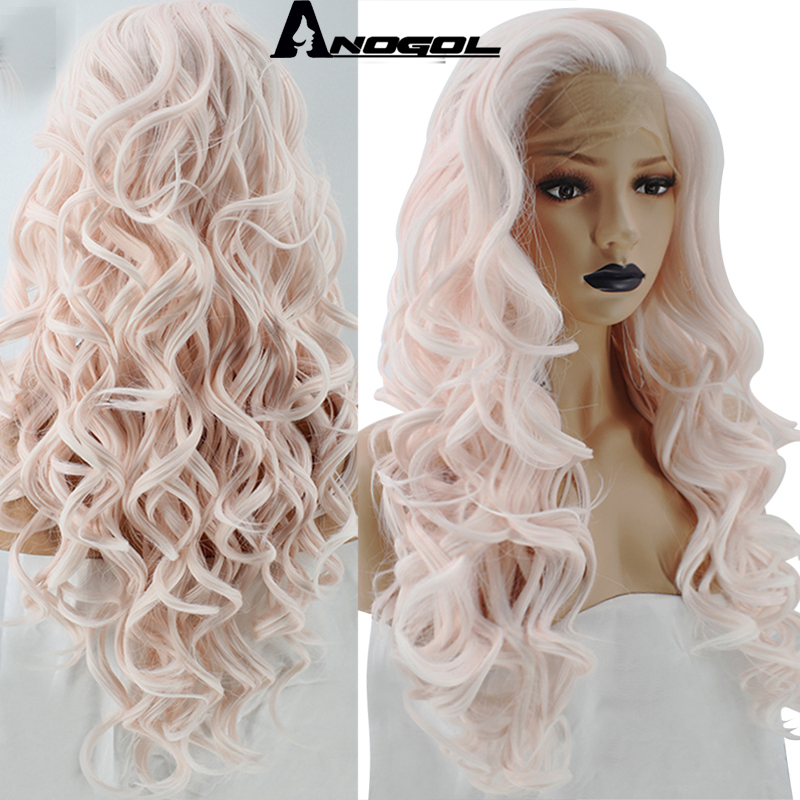 Anogol Widow Peak High Temperature Fiber Light Pink Free Part Perucas Long Natural Body Wave Synthetic