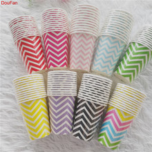 DouFan 12pcs Rainbow Color Wave Disposable Tableware Party Paper Plates Baby Shower Birthday Supplies Cups