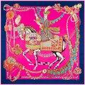 130 см * 130 см Женщин 2016 Новая Мода Twill Шелковый Евро Марка Характер Horse Король Мечей Цепи Платок Горячие Продажи Femal Wrap