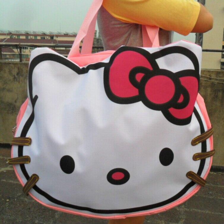 f35521f189 Women Clutch Hello Kitty Tote Bag Classic Head Style Handbag Large Capacity  Canvas Bag Casual Shoulder Bag Cute Cartoon Handbags-in Crossbody Bags from  ...