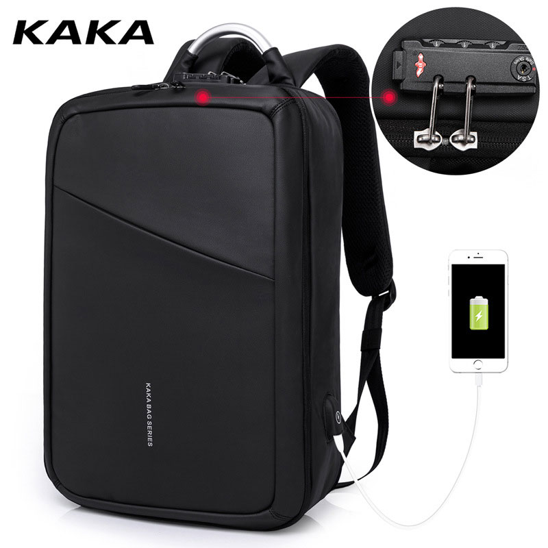 Kaka Professional Anti-theft Women Men Business Laptop Backpack For 15.6inch Computer Backpacks Fashion Travel Luggage Bag Black