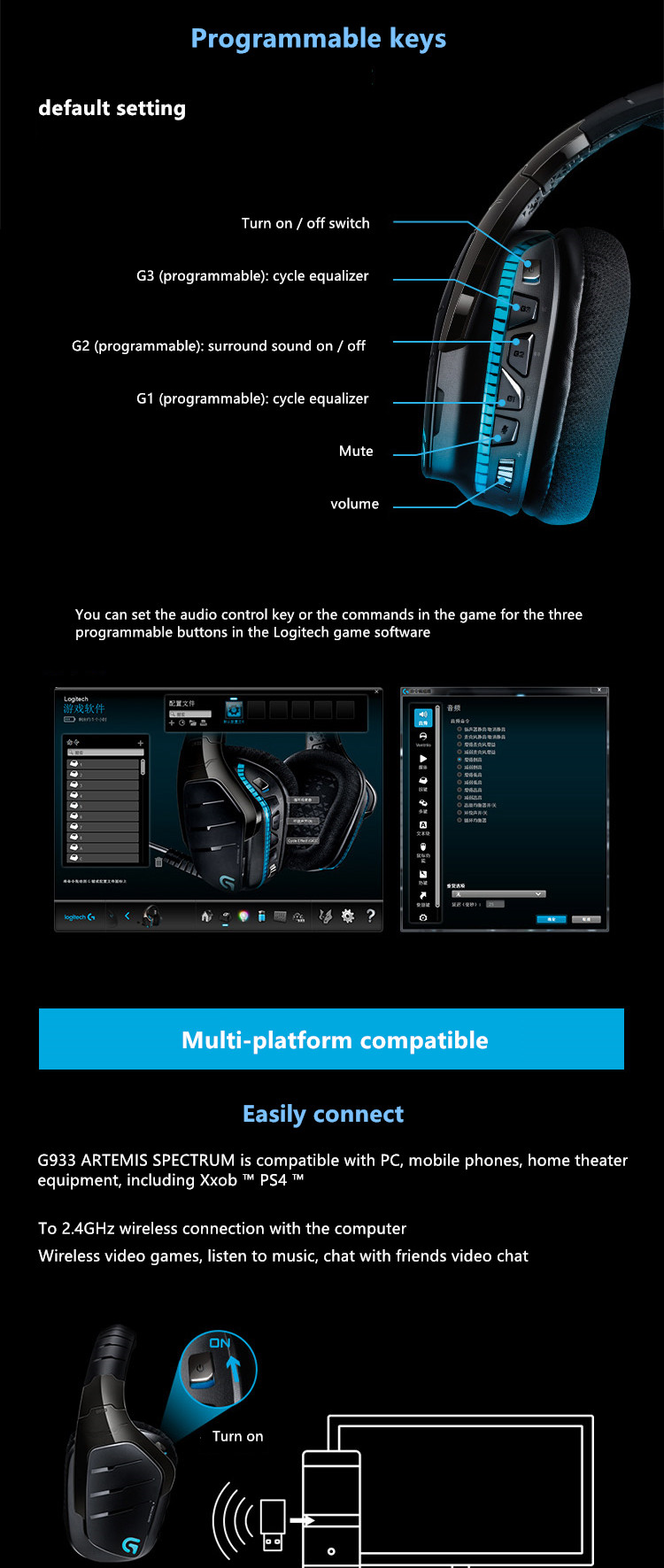 US $227 05 5% OFF|Logitech G933 Artemis Spectrum Wireless 7 1 Surround  Gaming Headset-in Mouse Pads from Computer & Office on Aliexpress com |  Alibaba