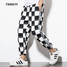 Tsingyi Reflective Men Joggers Cartoon Human Avatar or Black and white Square Sweatpants men Ankle Length Sarouel Homme Pants