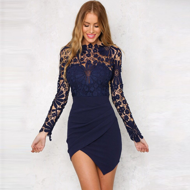 Long Sleeve Hollow Out Lace Dress