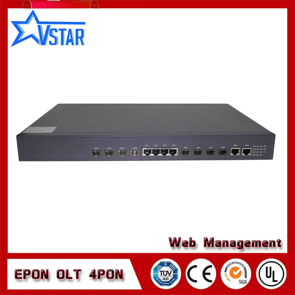 EPON OLT 4PORTS suit for HUAWEI ZTE FiberHome ONU ONT free WEB NMS software