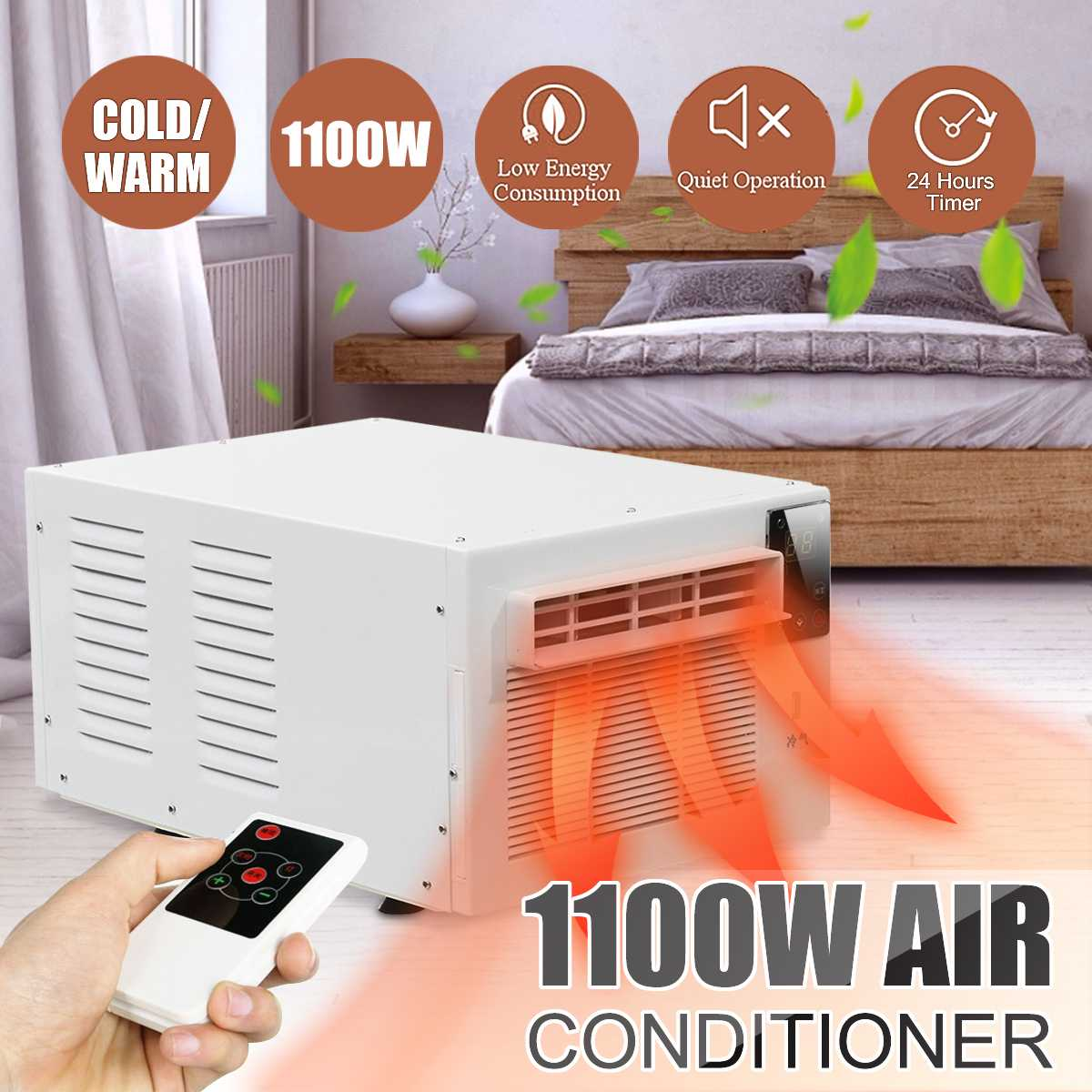 220V/AC Desktop Air Conditioner 1100W Cold/Heat Dual Use 24-hour Timer With Remote Control LED Control Panel Pet Air Conditione