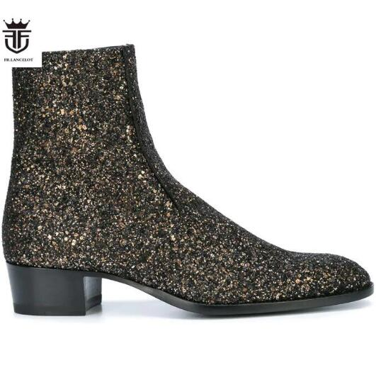 FR.LANCELOT Plus Size Genuine Leather Bling gold Men Fashion Chelsea Boots Low Heel Side Zipper LeoparTop Ankle Boots Shoes MenFR.LANCELOT Plus Size Genuine Leather Bling gold Men Fashion Chelsea Boots Low Heel Side Zipper LeoparTop Ankle Boots Shoes Men