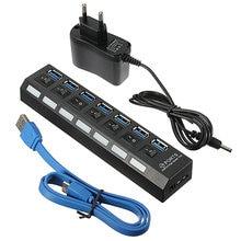 Universal 7 Port USB 3.0 Hub Mit On/Off-schalter EU/US/UK AC Power Adapter Für Windows XP/Vista/7/8 Für Mac/OS Laptop Desktop
