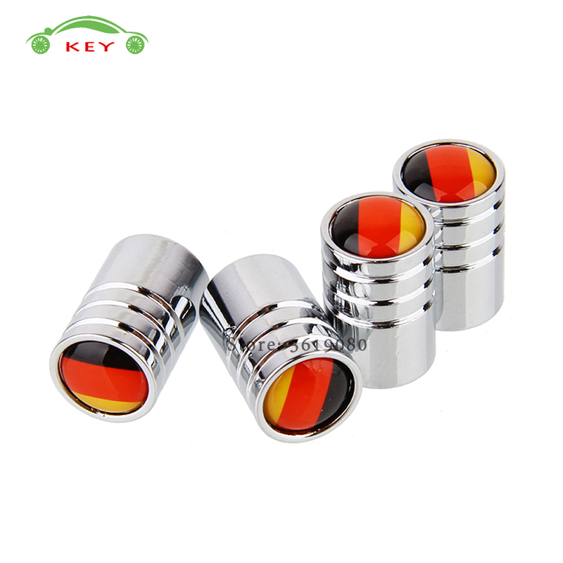 Stainless Steel Car Tire Stem Valve Caps Auto Wheel Air Covers for Flag of Germany Logo for VW Golf 6 7 Hyundai Mercedes Benz MG
