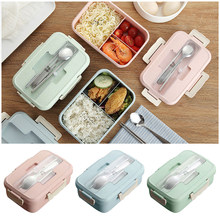 1000ml Portable Wheat Straw Lunch Box Children School Office Separate Bento Box With Tableware Picnic Food Storage Container(China)