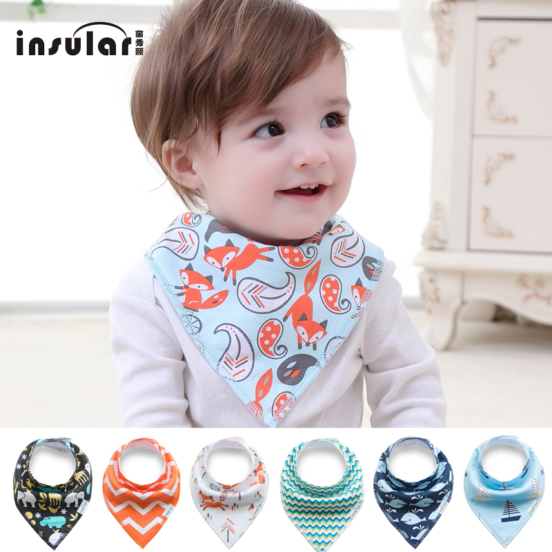 Free Shipping Baby Saliva Towel Bib Kerchief Cartoon Cotton Triangular Scarf Cute Printing Soft Infant Newborn Burp Cloths