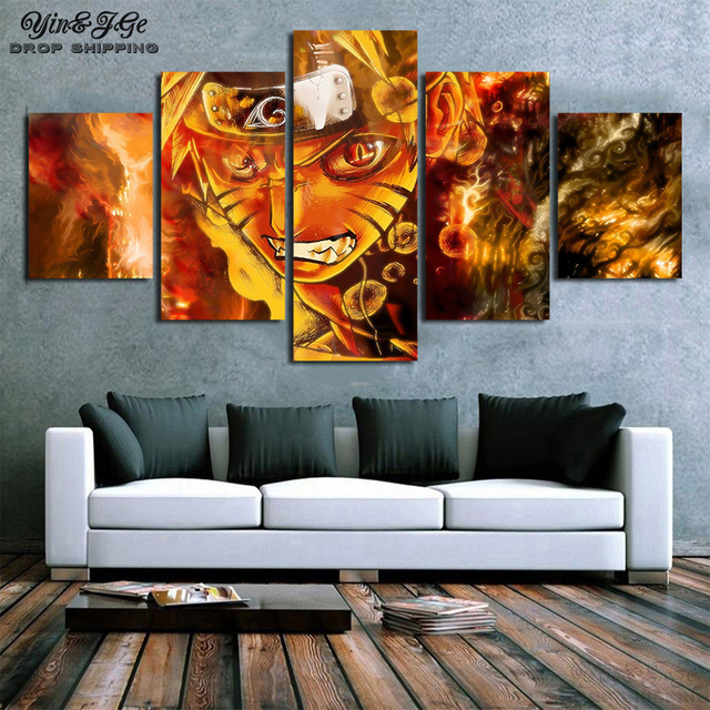 Canvas Prints Pictures Wall Art 5 Pieces Anime Naruto Painting Home Decorative Modular Abstract Poster For Living Room Framed