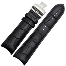 For Tisot Couturier T035 Watch Band Steel Buckle Strap Wrist Bracelet Black Curved End Genuine Leather Watchband 22mm 23mm 24mm недорого