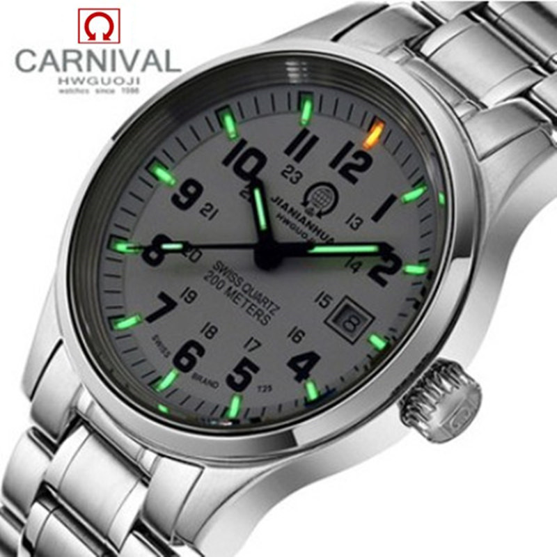 Military sports tritium luminous waterproof quartz men watch full steel genuine leather strap luxury brand fashion mens watches diesel diesel x03021 p0409 h1669