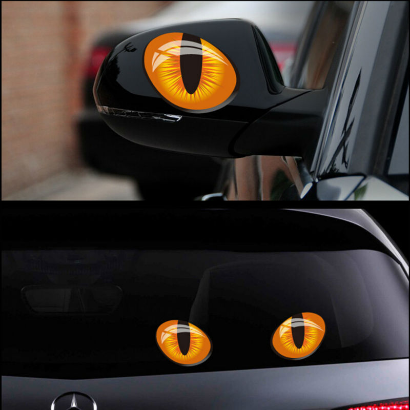 2pcs 12*10cm Cute Simulation Cat Eyes Car Stickers 3D Vinyl Decal For Rearview Mirror Car Head Engine Cover Windows Decoration(China)