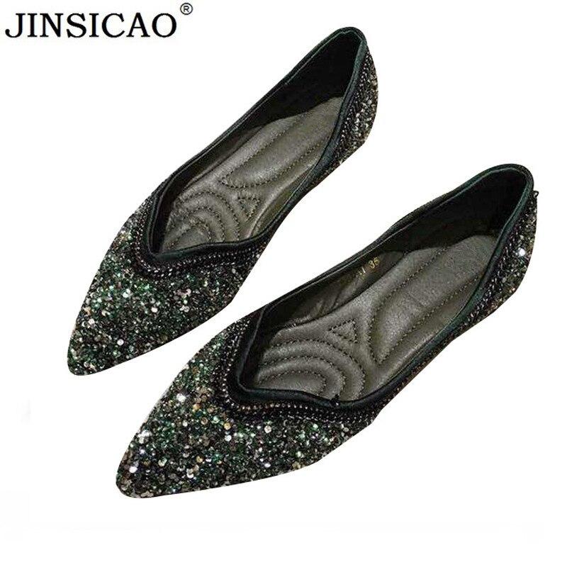 Date paillettes tissu femmes appartements dames chaussures plates décontracté femmes chaussures confortable bout pointu chaussures plates zapatos mujer