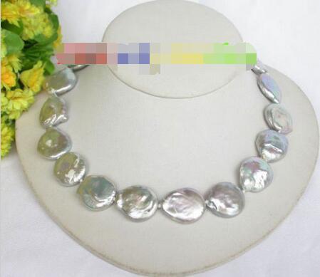 Livraison Gratuite>>>>> 23mm gris coin fixation FW perles collier j7592