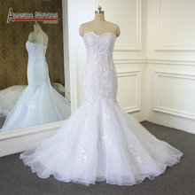 AMANDA NOVIAS Elegant Simple Mermaid Wedding Dress Back