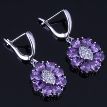 Sparkly Oval Purple Cubic Zirconia White CZ 925 Sterling Silver Drop Dangle Earrings For Women V0763