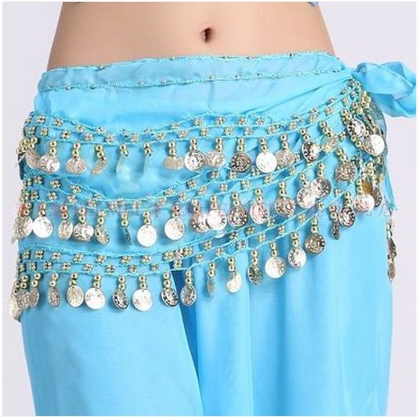 New Style Belly Dance Costumes Chiffon Gold Coins Belly Dance Hip Scarf For Women Belly Dancing Belt 10kinds Of Colors