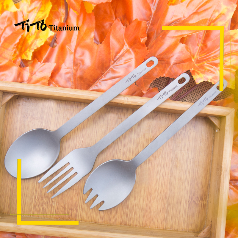 Ultralight Titanium Spork Long Handle Spoon Outdoor Camping Picnic Tableware F0
