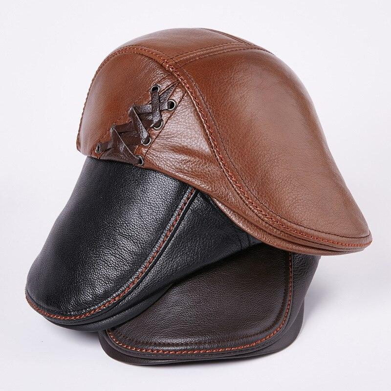 Piel de vaca de los hombres adulto cuero genuino sombrero caliente joven sombrero  de mediana edad gorra de cuero solo sombrero gorra de béisbol masculino B  ... 045e7e5b3bc