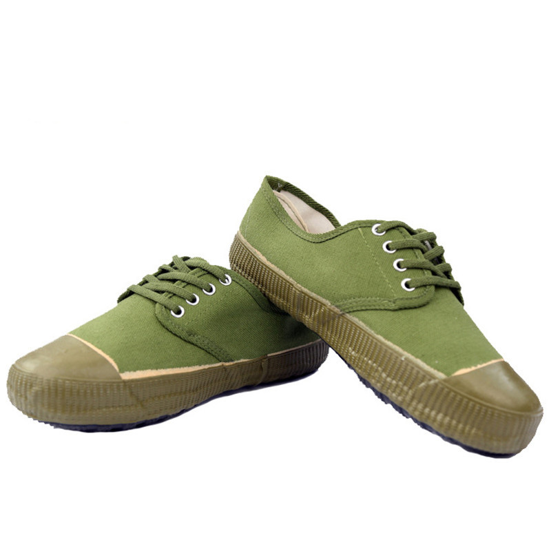 Men's military green canvas shoes low-grade military training shoes climbing shoes @5