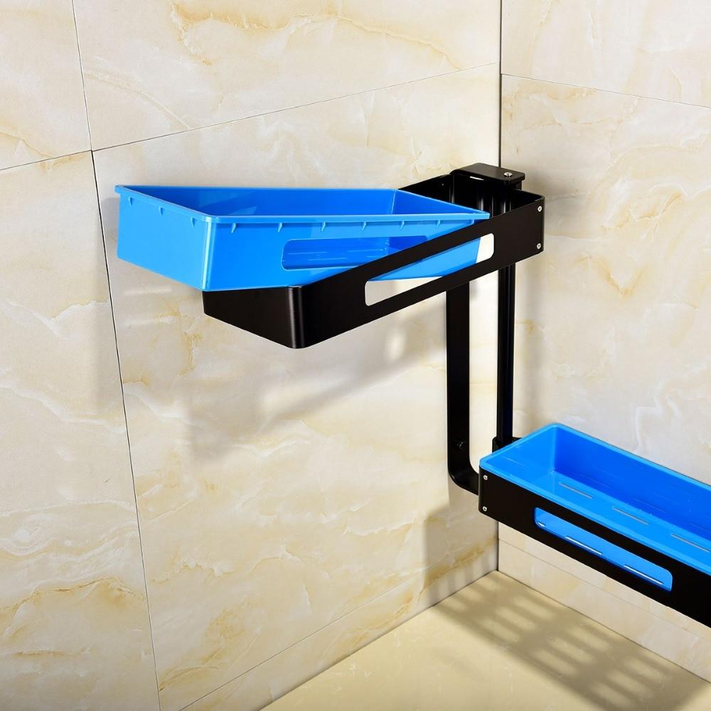 Envío Gratis estantes de baño giratorios de aluminio Multi función 2 4 niveles ducha esquina estante de pared montaje organizador autoadhesivo - 3