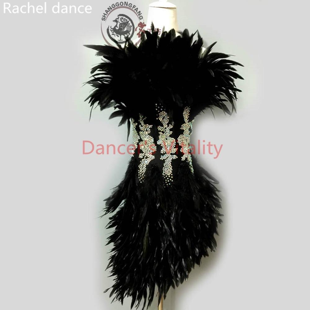 2017 Feather Latin Dance Dress Women Girls Harness Back Opening Salsa Samba Tango Ballroom Competition Stage Latin Dance Costume