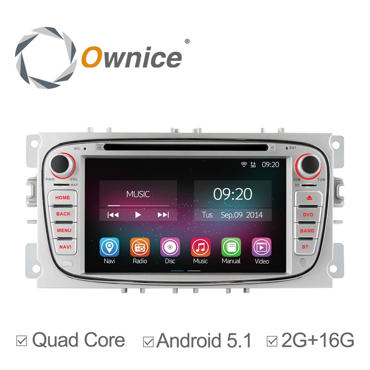 Ownice C200 4 Core font b Android b font 5 1 Car DVD GPS For Ford