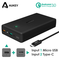 AUKEY Quick Charge 3 0 Power Bank 30000mAh Portable Charger USB External Fast Battery PowerBank For