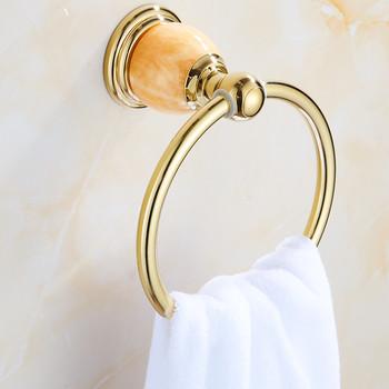 Pierścienie na ręczniki ze stopu cynku luksusowe złoto Jade naścienny uchwyt na ręczniki półka do wanny wieszak na ręczniki wieszaki akcesoria łazienkowe wieszaki na ręczniki tanie i dobre opinie Cynk-stop Pierścienie ręcznik Chrome