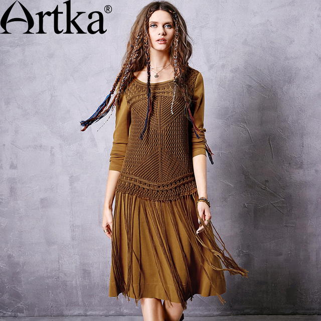 Das artka mulheres primavera new cor sólida malhas patchwork dress moda o-long neck de manga na altura do joelho-comprimento tassel hem dress za10662q