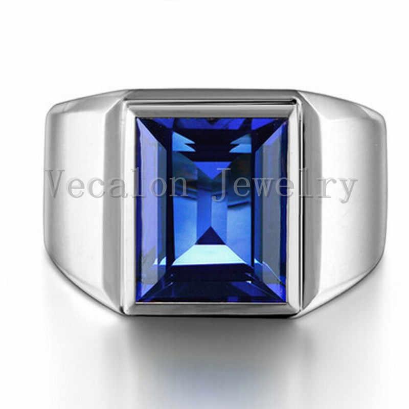 Vecalon ファッションジュエリー男性のため 8ct 石 5A ジルコン cz 925 スターリングシルバー男性婚約指輪