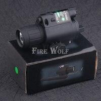 FIRE WOLF Hunting Optics Tactical LED Pistol Flashlight Green Laser Combo Handgun Sight 200 Lumens Weapon