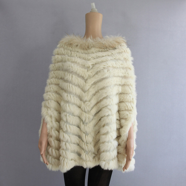 2017 New Women Fashion Pullover Genuine Rabbit Fur Raccoon Fur Knitted Poncho Cape Real Fur Knit Amic Wrap Shawl Coat RCSS0001