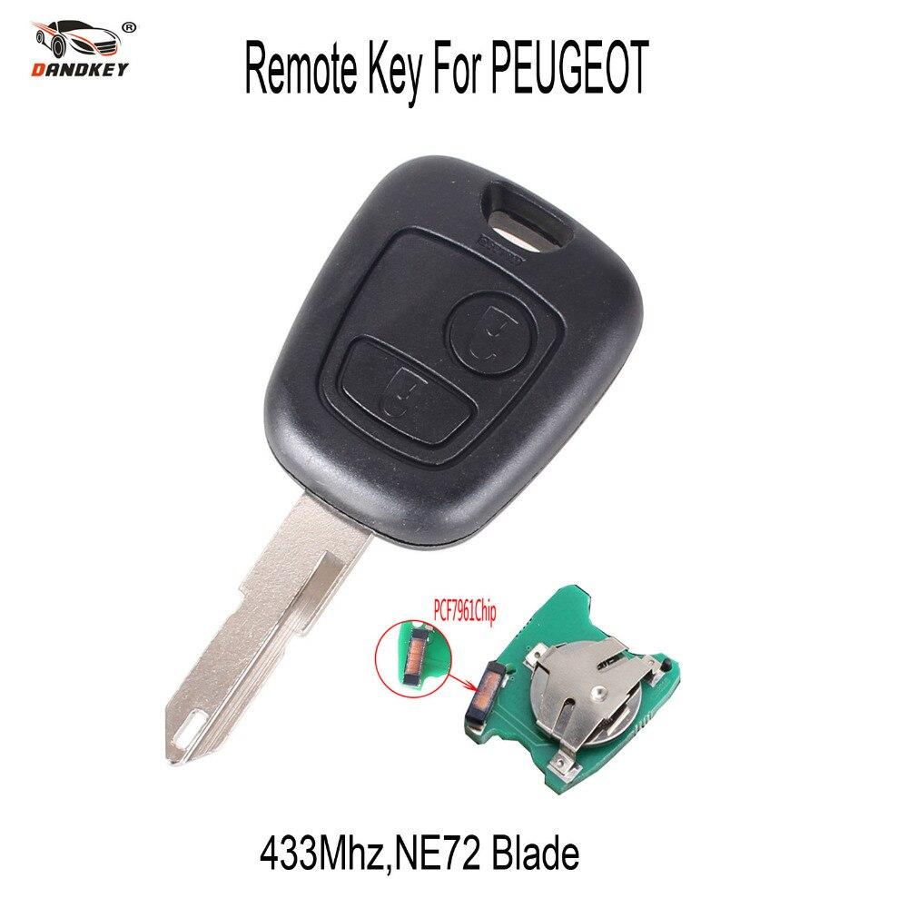 Prix pour DANDKEY Remplacement de Clé de Voiture Pour Peugeot 206 À Distance Clé 433 MHZ avec PCB Batterie PCF7961 Puce