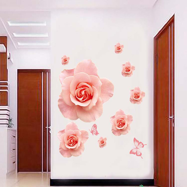 % PVC Romantic rose Flowers are romantic Wall Sticker Kids Rooms bedroom Butterfly wedding Wall Art Decal Home Decor Mural