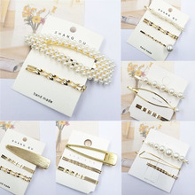 Sale 3PCS/Lot Korean High Quality Women Hair Clips Female Bang Clip Sweet Girls Pearl gold color Barrette Accessories