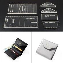 1 комплект DIY лазерная резка акриловый шаблон ручной работы короткий кошелек шитье из кожи шаблон шитье трафареты 9,5*10*1,5 см