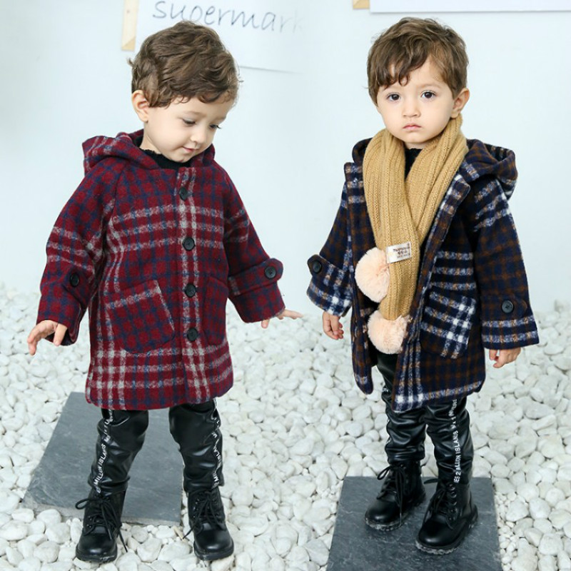 2018 Fashion Baby Boy Clothes Autumn Winter Style Kids Jackets Long Sleeve Single-breasted Boy Thicken Outwear Hooded Woole Coat