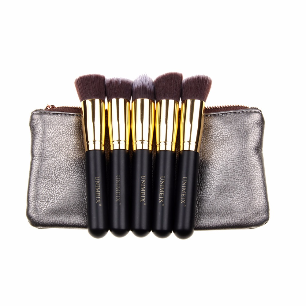 5pcs Beauty Large Makeup Brushes Set Foundation Powder Blush Make up Brush Cosmetics Tool Black/Gold with leather bag very big beauty powder brush blush foundation round make up tool large cosmetics aluminum brushes soft face makeup free shipping